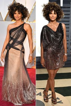HALLE BERRY changes from Atelier Versace gown into a slinky ombré sequin mini and Imagine Vince Camuto sandals for the Vanity Fair afterparty. Halle Berry Oscar, Oscar 2017 Dresses, Gold Dress, Dress Up, Black Tie Attire, Sparkly Outfits, Versace Gown, Rose Gold Shoes, Oscars 2017