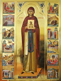 Hagiographical icon of St Parascheva. An icon hagiography consists of a central icon - a great saint, surrounded by a frame of small scenes depicting events or miracles in the life of the saint. Religious Images, Religious Icons, Religious Art, Byzantine Icons, Byzantine Art, Greek Icons, Lives Of The Saints, Church Icon, Avatar The Last Airbender Art