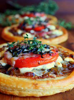 Tomato, Goat Cheese, and Prosciutto Tarts.