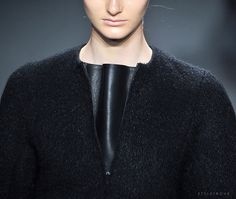 styletrove:  RUNWAY DETAIL: Spliced leather and wool top @ Calvin Klein.