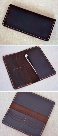 Handmade wallet Mens leather wallet Hand sewing Brown bifold wallet Gift for men Long wallet /Suitable for Iphone 6
