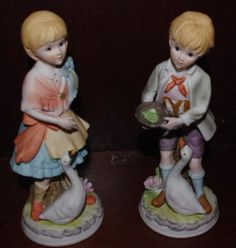 2 Vintage Porcelain Figurines of Boy and Girl Feeding by 2BEB, $22.99