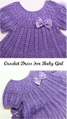 Crochet Dress For Baby Girl - Crochet Ideas Baby girl dress Baby Girl Crochet, Crochet Baby Clothes, Crochet For Kids, Crochet Ideas, Crochet Dresses, Crochet Projects, Crochet Baby Dress Pattern, Baby Dress Patterns, Baby Dress Tutorials