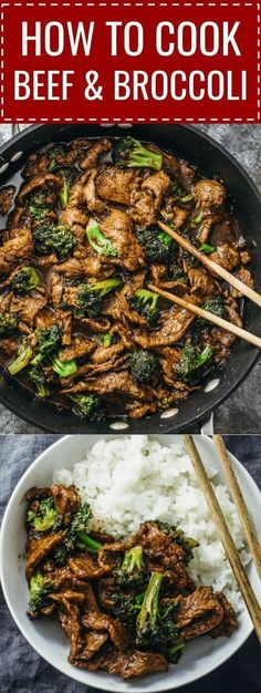 This beef and broccoli recipe is CRAZY GOOD. It's so easy and quick to make this authentic Chinese stir fry using flank steak seared on a skillet or wok. The sauce is simple to make and not spicy — all you need are soy sauce, brown sugar, and corn starch. Asian Recipes, Beef Recipes, Cooking Recipes, Healthy Recipes, Flank Steak Recipes, Beef Steak, Roast Beef, Healthy Nutrition, Delicious Recipes