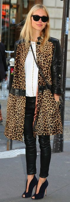 Leopard print + black leather - Classic winter style for the big city girl