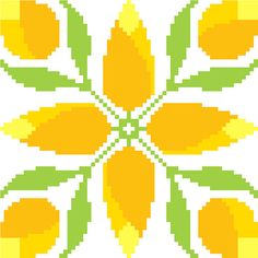 Yellow rosebuds cross stitch pattern by crossstitchtheline. Bright yellows and fresh green combine to give this pattern a spring like feel.