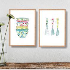 Kitchen art prints,2 kitchen prints set, Stack of bowls print, Kitchen utensils print, floral kitchen art, wedding gift, pastel colors
