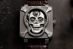Part of a line of memento mori-inspired watches, the Bell & Ross BR 01 Laughing Skull is an unusual timepiece with a beautifully detailed Rayban Sunglasses Mens, Rolex Watches, Watches For Men, Bell Ross, Mens Gear, Jackett, Buy Shoes, Skull, Laughing