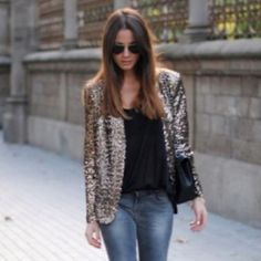Gold sequin blazer, jeans