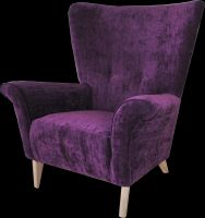 A chair by Wishinteriors.com has been a family favourite since the 70s and has been updated with cool crushed purple velvet , but can be customised until the cows come home,hand made by true craftsmen for over 60 years from £995