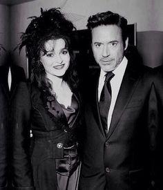So much talent in just one photo.  Helena Bonham Carter & Robert Downey Jr.
