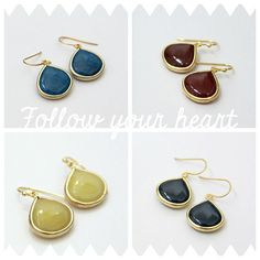 Follow Your Heart. Bordeaux Red Stone Drop by LePetitRuban on Etsy, $32.00