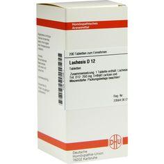 LACHESIS D 12 Tabletten:   Packungsinhalt: 200 St Tabletten PZN: 02102911 Hersteller: DHU-Arzneimittel GmbH & Co. KG Preis: 10,49 EUR…