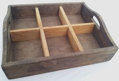 Rustic Wood Serving Tray w Handles & Removable Divider Caddy Organizer Country #Country