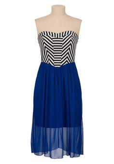 Striped Top Chiffon Mid length tube Dress