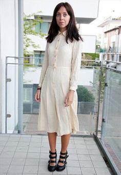 Cream Dress with Stitch Detail