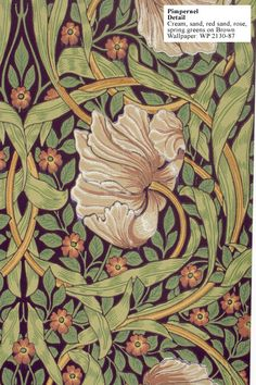 Beautiful William Morris Pimpernel wallpaper for Library