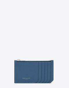 SAINT LAURENT 5 FRAGMENTS ZIP POUCH IN DENIM BLUE GRAINED LEATHER | YSL.COM