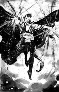 Striking Black & White Superhero Sketches by Matteo Scalera — GeekTyrant Comic Book Characters, Marvel Characters, Comic Character, Comic Books Art, Character Design, Doctor Strange, Superhero Sketches, Heros Comics, Black And White Sketches