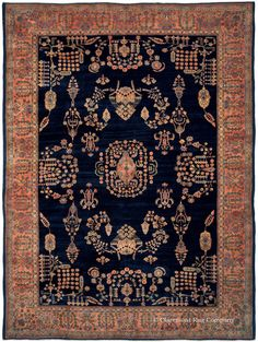 MAHAJIRAN SAROUK - West Central Persian 11ft 3in x 15ft 3in Circa 1910  Preserved in remarkable pristine condition, this century-old Mahajiran Sarouk Persian rug is the ideal centerpiece for a sophisticated environment