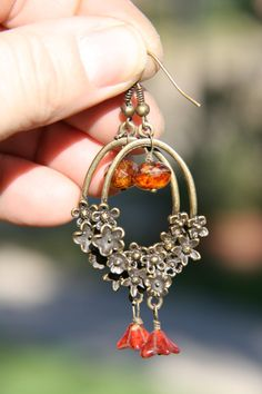 Alloy Floral Cage , Floral czech beads,Earrings 2.1/2 inches long, by Violetastorejewelry on Etsy