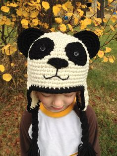 Child size black and off white ear flap crochet panda by JubileeJP, $25.00