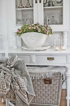 Love the shabby chic with whites/naturals, and splashes of the lightest pink.  - VIBEKE DESIGN
