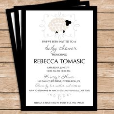 Modern Sheep Baby Shower Invitation    -SHIPPING IS INCLUDED IN THE COST FOR PINTED INVITATIONS -    Please choose and purchase your design