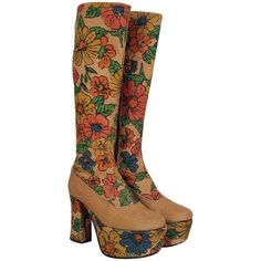 Preowned 1970's Colorful Floral-garden Print Barkcloth Knee-high... ($1,500) ❤ liked on Polyvore featuring shoes, boots, brown, wooden platform shoes, hippie boots, floral shoes, knee high platform boots and high platform shoes