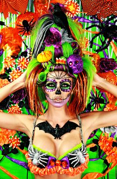 #Halloween #Skull #skeleton #pumpkin #candycorn #scary #costume #facepaint #Makeup #flower #creative #dayofthedead #diadelosmuertos #hair #eyeshadow #bat #glitter #orange #green #purple @Lindsay Dillon #spider #candy