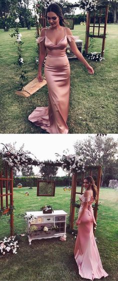 Long Prom Dresses, Sexy Prom Dresses, 2018 Prom Dresses For Girls, Sheath/Column Prom Dresses V-neck, Silk-like Satin Prom Dresses Draped #partydress #evening #gowns #luxurydress