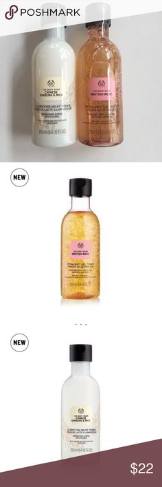 The body shop British rose & Chinese ginseng toner Chinese ginseng For brighter-looking skin Infused with Chinese rice and ginseng extract and Community Trade sesame seed oil from Nicaragua 100% vegan Formulated without alcohol 82% of women agree that their skin looked instantly brighter (based on trial results from 107 women) British rose Gently softens skin Infused with organic Community Trade aloe vera from Mexico 100% vegan Formulated without alcohol 94% of women agree that their skin…