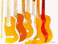 Orange and Mustard Yellow Guitars print