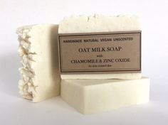 Natural Oat Milk Soap with Zinc Oxide and Chamomile, Rustic soap, Unscented soap by Tundescraftshop on Etsy