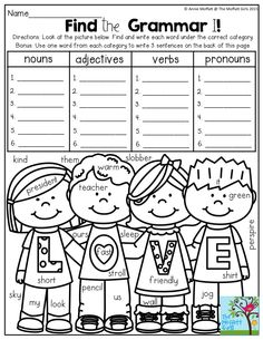 Find and Graph NOUNS, VERBS, and ADJECTIVES! So many FUN
