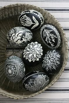 Beautifully Crafted Black and White Easter Egg Art