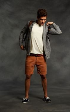 Campfire Cool. grey sweater. white tee. cords. boat shoes.