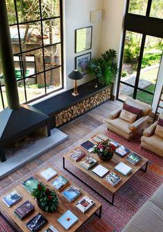 Home Living Room, Living Room Designs, Living Room Decor, Cozy Fireplace, Fireplace Design, Vibeke Design, Firewood Storage, Style At Home, Furniture Makeover
