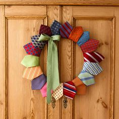 Turn Dad's old ties into door decor. You'll need a 14-inch wire wreath form from a crafts shop and 19 ties. Cut all ties but one into 15-inch lengths. Position the narrow end of first cut tie, front side up, on a section of the wreath. Wrap tie around form until pointed end is positioned as shown, hiding the rolled tie; secure with pins. Repeat, overlapping ties slightly. Flip wreath over; sew rolled-up ties to the backs of points. Pin on the uncut, bowed tie.