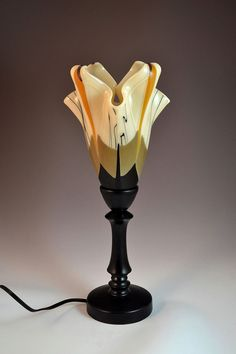 Modern Lily Fused Glass Table Lamp by Krenzin11 on Etsy, $450.00