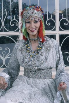 Caftan with Berber style jewelry.