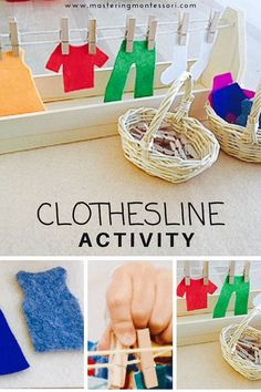 Hand Crafted Montessori Practical Life Clothesline Activity. This work is always a favorite! Children love activities that mimic real life, especially tasks they see adults doing. This miniature clothesline and laundry basket is so engaging, your child will choose this again and again. Self mastery brings an overwhelming sense of accomplishment! The best part is they will be strengthening their writing grip, fine motor skills, etc…