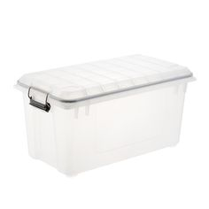 Smart Store Clear Compact Plastic Bins 4-Pack with Bamboo Lids | The Container Store Stackable Plastic Storage Bins, Stacking Bins, Storage Bins With Lids, Plastic Bins, Pantry Storage, Pantry Organization, Pantry Makeover, Storage Trunk, Container Store