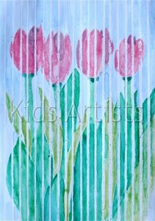 crayon/watercolor resist 3,4 Kids Artists: April showers will bring us flowers