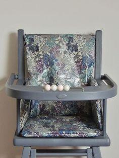 Coussin de chaise haute en Liberty enduit Mauvey bleu  Demeure des Anges Couture, Furniture, Color, Home Decor, High Chairs, Cement Render, Hand Made, Slipcovers, Home Ideas