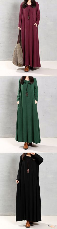 US$21.99+Free shipping. Size: S~5XL. Color: Black, Burgundy, Green. Home or out, love this vintage and casual dress. Women Dresses, Long Dresses, Dresses Casual, Dresses for Teens, Retro Fashion.