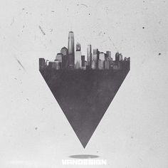New York city made out of geometric shapes that is being held on an equilateral triangle.    -Geometry and Art