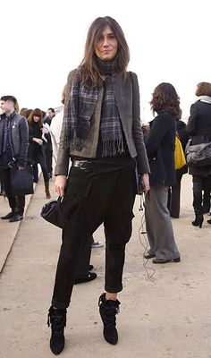 Emanuelle Alt's look has interesting proportions and some very chic shoes.