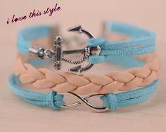 infinitybracelet blue wax bord anchor Bridesmaid by ilovethisstyle, $7.99