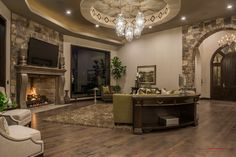 2015 Parade of Homes Entry - Stone Cliff, St George, Utah - Stone Fireplace, Great Room, Luxury Home